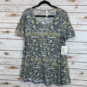 LuLaRoe Perfect T Medium Blue Paisley NWT